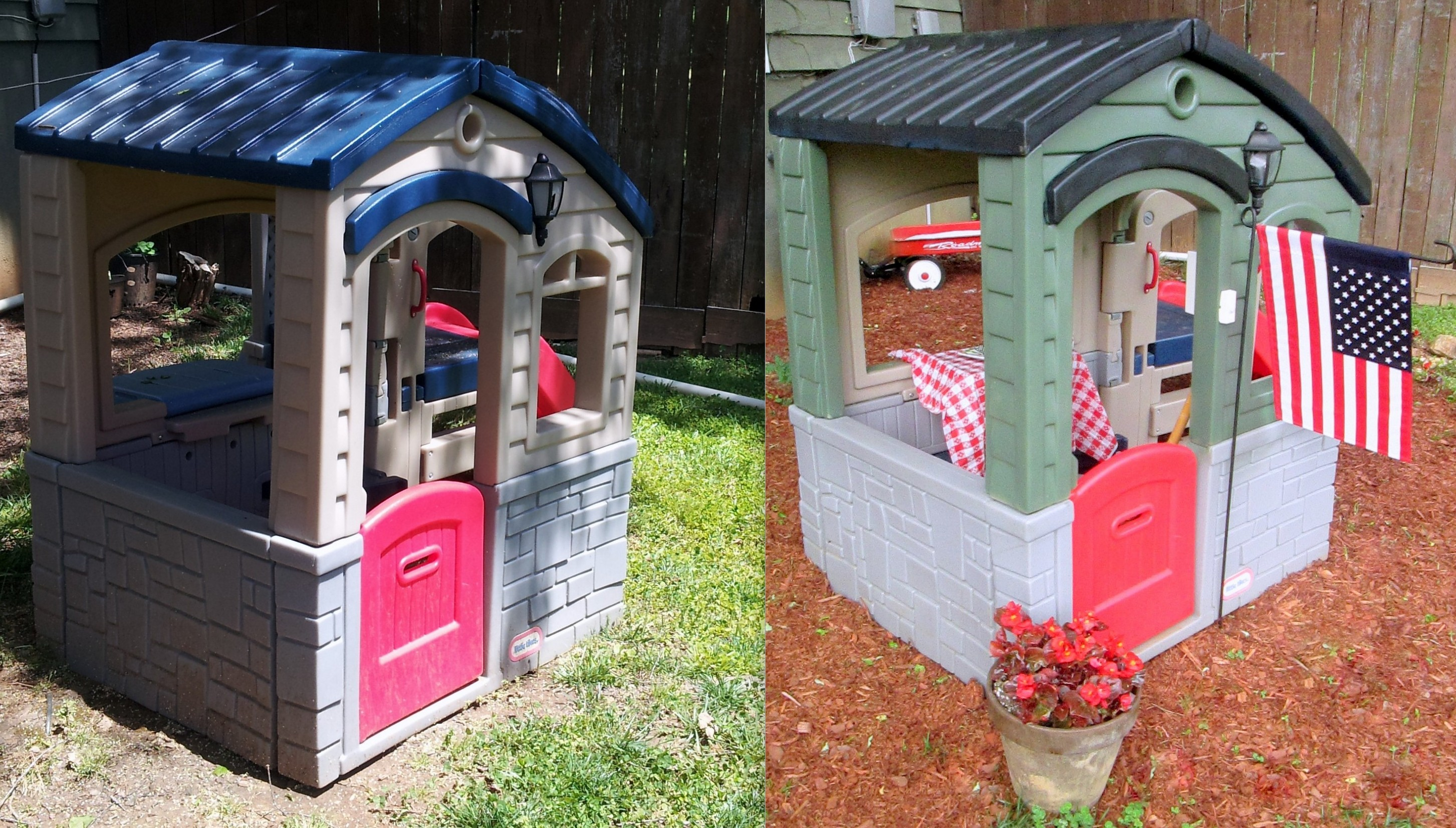 Wee playhouse a diy little tikes makeover and sump pump for Little tikes house